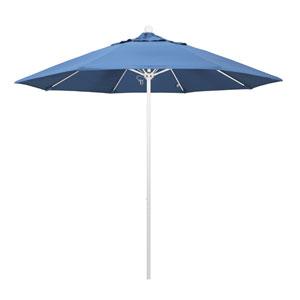 9 Foot Umbrella Fiberglass Market Pulley Open Matted White/Pacifica/Capri