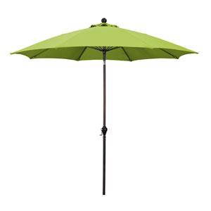 9 Ft. Bronze Aluminum Patio Umbrella with Fiberglass Ribs Crank Lift 3-Ways Tilt in Lime Green Polyester