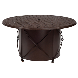 48-Inch Chestnut Brown Round Thatch Cast Fire Pit