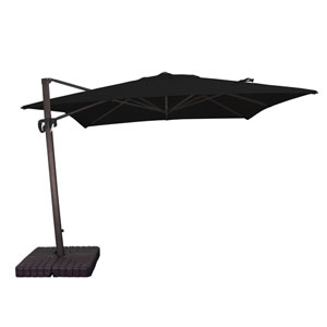 10 X 10 Foot Umbrella Square Cantilever Crank Lift Multi-Positon Bronze/Sunbrella/Black