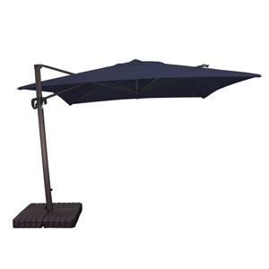 10 X 10 Foot Umbrella Square Cantilever Crank Lift Multi-Positon Bronze/Sunbrella/Navy