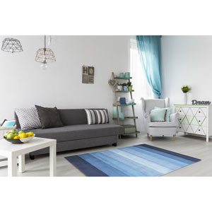 Aspect Blue Stripes Rectangular: 2 Ft. 6 In. x 12 Ft. Runner
