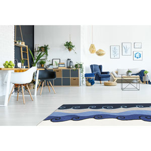 Structure Blue Malibu Hand Tufted Round: 8 Ft. x 8 Ft. Rug