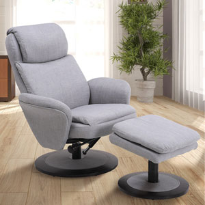 Comfort Chair Light Grey Fabric  Swivel, Recliner with Ottoman