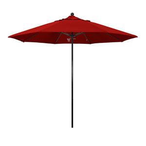9 Foot Umbrella Complete Fiberglass Market Pulley Open Black/Sunbrella/Jock Red