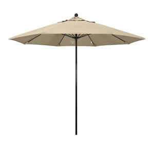 9 Foot Umbrella Complete Fiberglass Market Pulley Open Black/Sunbrella/Ant. Beige