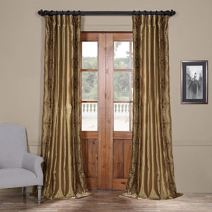 Chai 84 x 50-Inch Embroidered Faux Silk Curtain Single Panel