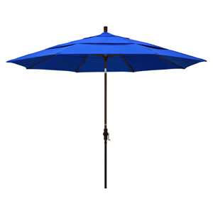 11 Foot Umbrella Aluminum Market Collar Tilt Double Vent Bronze/Sunbrella/Pacific Blue