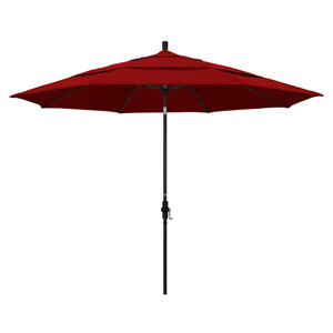 11 Foot Umbrella Aluminum Market Collar Tilt Double Vent Bronze/Sunbrella/Jockey Red