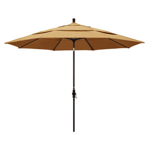 11 Foot Umbrella Aluminum Market Collar Tilt Double Vent Bronze/Sunbrella/Wheat