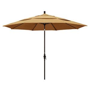 11 Foot Umbrella Aluminum Market Collar Tilt Double Vent Bronze/Sunbrella/Wheat