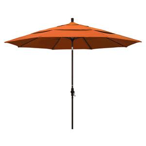 11 Foot Umbrella Aluminum Market Collar Tilt Double Vent Bronze/Sunbrella/Tuscan