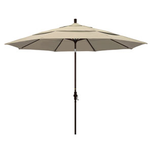 11 Foot Umbrella Aluminum Market Collar Tilt Double Vent Bronze/Sunbrella/Antique Beige