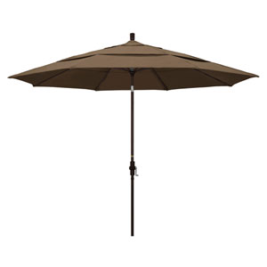 11 Foot Umbrella Aluminum Market Collar Tilt Double Vent Bronze/Sunbrella/Cocoa