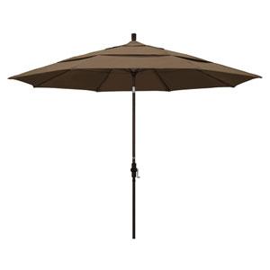 11 Foot Umbrella Aluminum Market Collar Tilt Double Vent Bronze/Sunbrella/Cocoa