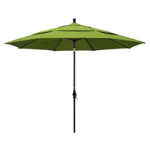 11 Foot Aluminum Market Umbrella Collar Tilt Double Vent Bronze/Sunbrella/Macaw