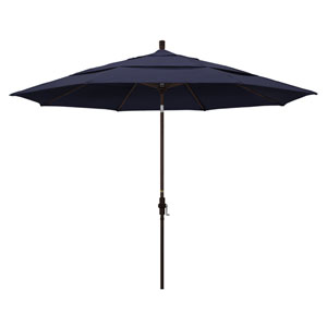 11 Foot Umbrella Aluminum Market Collar Tilt Double Vent Bronze/Sunbrella/Navy