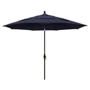 11 Foot Umbrella Aluminum Market Collar Tilt Double Vent Bronze/Sunbrella/Navy