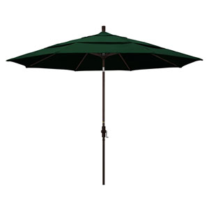 11 Foot Umbrella Aluminum Market Collar Tilt Double Vent Bronze/Sunbrella/Forest Green