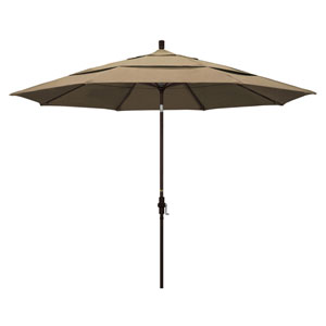 11 Foot Umbrella Aluminum Market Collar Tilt Double Vent Bronze/Sunbrella/Heather Beige