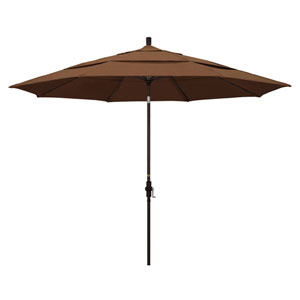 11 Foot Umbrella Aluminum Market Collar Tilt Double Vent Bronze/Sunbrella/Canvas Teak