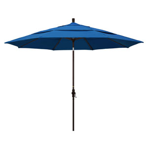 11 Foot Umbrella Aluminum Market Collar Tilt Double Vent Bronze/Pacifica/Pacific Blue