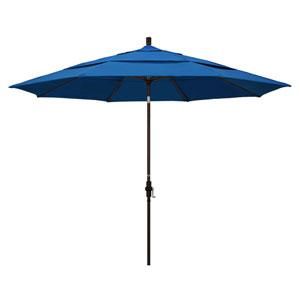 11 Foot Umbrella Aluminum Market Collar Tilt Double Vent Bronze/Pacifica/Pacific Blue