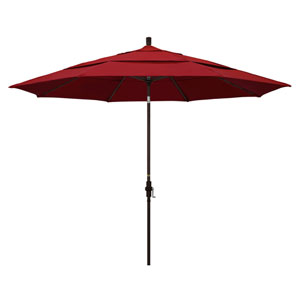 11 Foot Umbrella Aluminum Market Collar Tilt Double Vent Bronze/Pacifica/Red