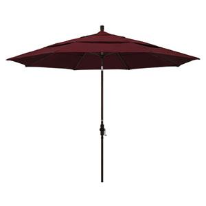 11 Foot Umbrella Aluminum Market Collar Tilt Double Vent Bronze/Pacifica/Burgandy