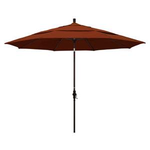 11 Foot Umbrella Aluminum Market Collar Tilt Double Vent Bronze/Pacifica/Brick
