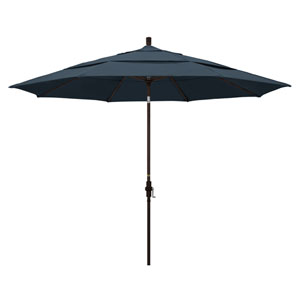 11 Foot Umbrella Aluminum Market Collar Tilt Double Vent Bronze/Pacifica/Sapphire