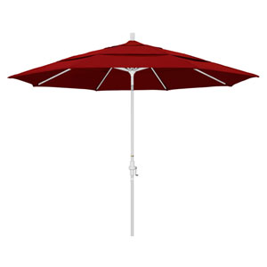 11 Foot Umbrella Aluminum Market Collar Tilt Double Vent Matted White/Sunbrella/Jock.Red