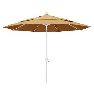 11 Foot Umbrella Aluminum Market Collar Tilt Double Vent Matted White/Sunbrella/Wheat