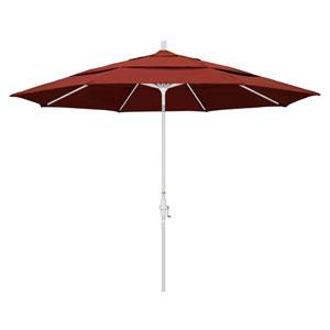 11 Foot Umbrella Aluminum Market Collar Tilt Double Vent Matted White/Sunbrella/Terracotta