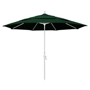11 Foot Umbrella Aluminum Market Collar Tilt Double Vent Matted White/Sunbrella/F Green
