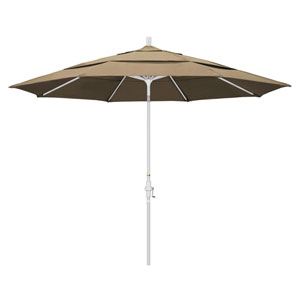 11 Foot Umbrella Aluminum Market Collar Tilt Double Vent Matted White/Sunbrella/Heather Beige