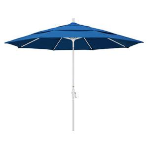 11 Foot Umbrella Aluminum Market Collar Tilt Double Vent Matted White/Pacifica/Pac Blue