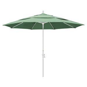 11 Foot Umbrella Aluminum Market Collar Tilt Double Vent Matted White/Pacifica/Spa