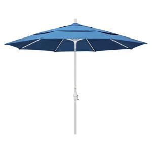 11 Foot Umbrella Aluminum Market Collar Tilt Double Vent Matted White/Pacifica/Capri