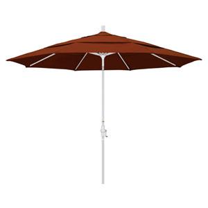 11 Foot Umbrella Aluminum Market Collar Tilt Double Vent Matted White/Pacifica/Brick