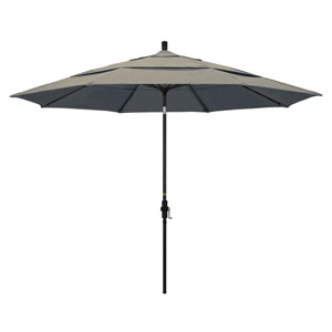 11 Foot Aluminum Market Umbrella Collar Tilt Double Vent Matted Black/Sunbrella/Spectrum Dove