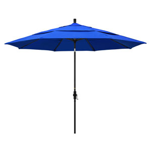 11 Foot Umbrella Aluminum Market Collar Tilt Double Vent Matted Black/Sunbrella/Pac Blue