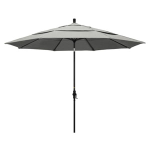 11 Foot Aluminum Market Umbrella Collar Tilt Double Vent Matted Black/Sunbrella/Granite