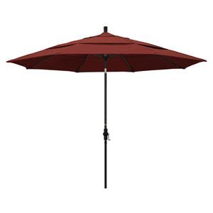 11 Foot Umbrella Aluminum Market Collar Tilt Double Vent Matted Black/Sunbrella/Henna