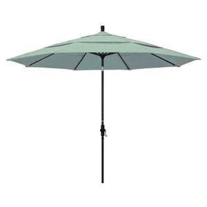 11 Foot Aluminum Market Umbrella Collar Tilt Double Vent Matted Black/Sunbrella/Spa