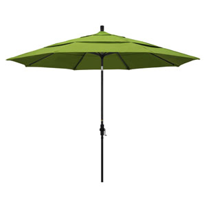 11 Foot Aluminum Market Umbrella Collar Tilt Double Vent Matted Black/Sunbrella/Macaw