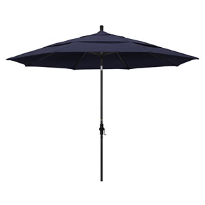 11 Foot Umbrella Aluminum Market Collar Tilt Double Vent Matted Black/Sunbrella/Navy
