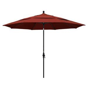 11 Foot Umbrella Aluminum Market Collar Tilt Double Vent Matted Black/Sunbrella/Terracotta