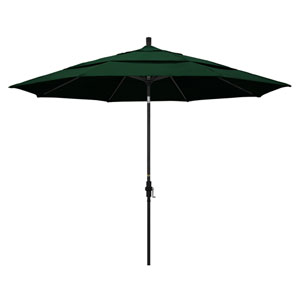 11 Foot Umbrella Aluminum Market Collar Tilt Double Vent Matted Black/Sunbrella/Forest Green