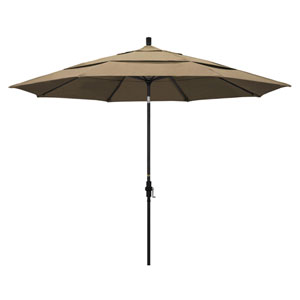 11 Foot Umbrella Aluminum Market Collar Tilt Double Vent Matted Black/Sunbrella/Heather Beige